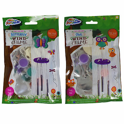 Grafix Kids Set of 2 Paint Your Own Wooden Wind Chimes - Owl & Butterfly