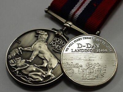 George VI WW2 1939-1945 Service Medal /& Silver D-Day Commemorative Coin Set.