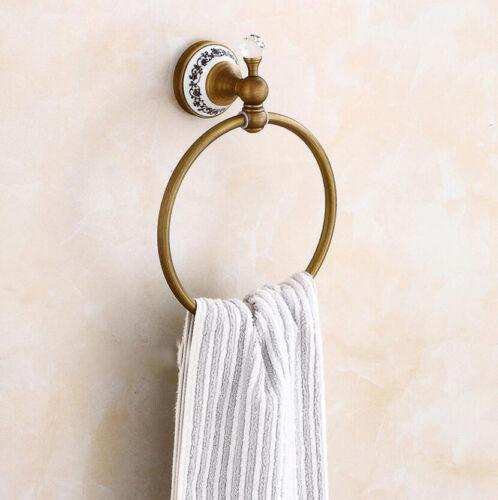 Bathroom Bath Hand Towel Ring Rack Round Holder Wall Mount Hanger Brass Antique
