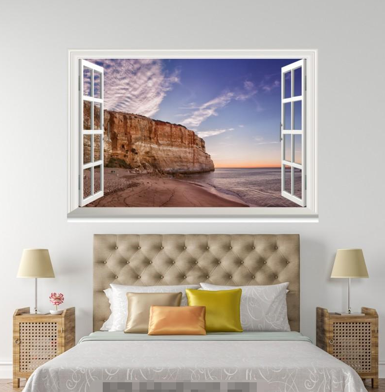 3D Beach Seaside 5 Open Windows WallPaper Murals Wall Print Decal Deco AJ Summer