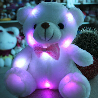 1 Stuffed Night Light Plush Lovely Holiday Teddy Bear Soft Gift Doll Baby Toy