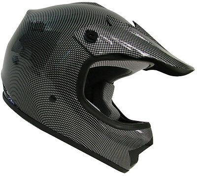 Youth Carbon Fiber Motocross Dirt Bike ATV MX Off-Road Kids Helmet ~S, M, L