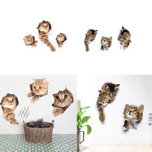 3X-3D-Katzen-Wandtattoo-Dekoration-Aufkleber-Sticker-Katze-Cat-Kinder-Zimmer