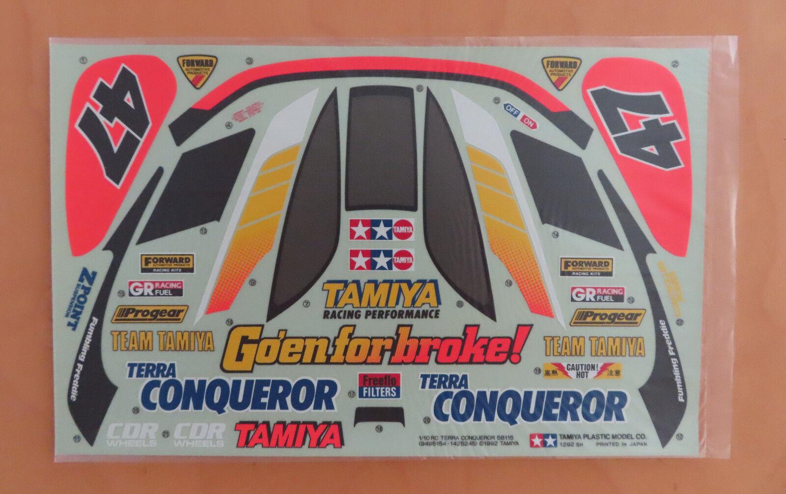 RC Tamiya Calcomanía Terra conquistador 58115 Nuevo en Caja 1992