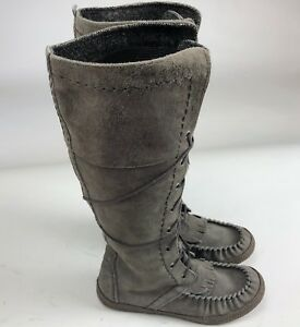 UGG Australia Gray Suede Tall Moccasin