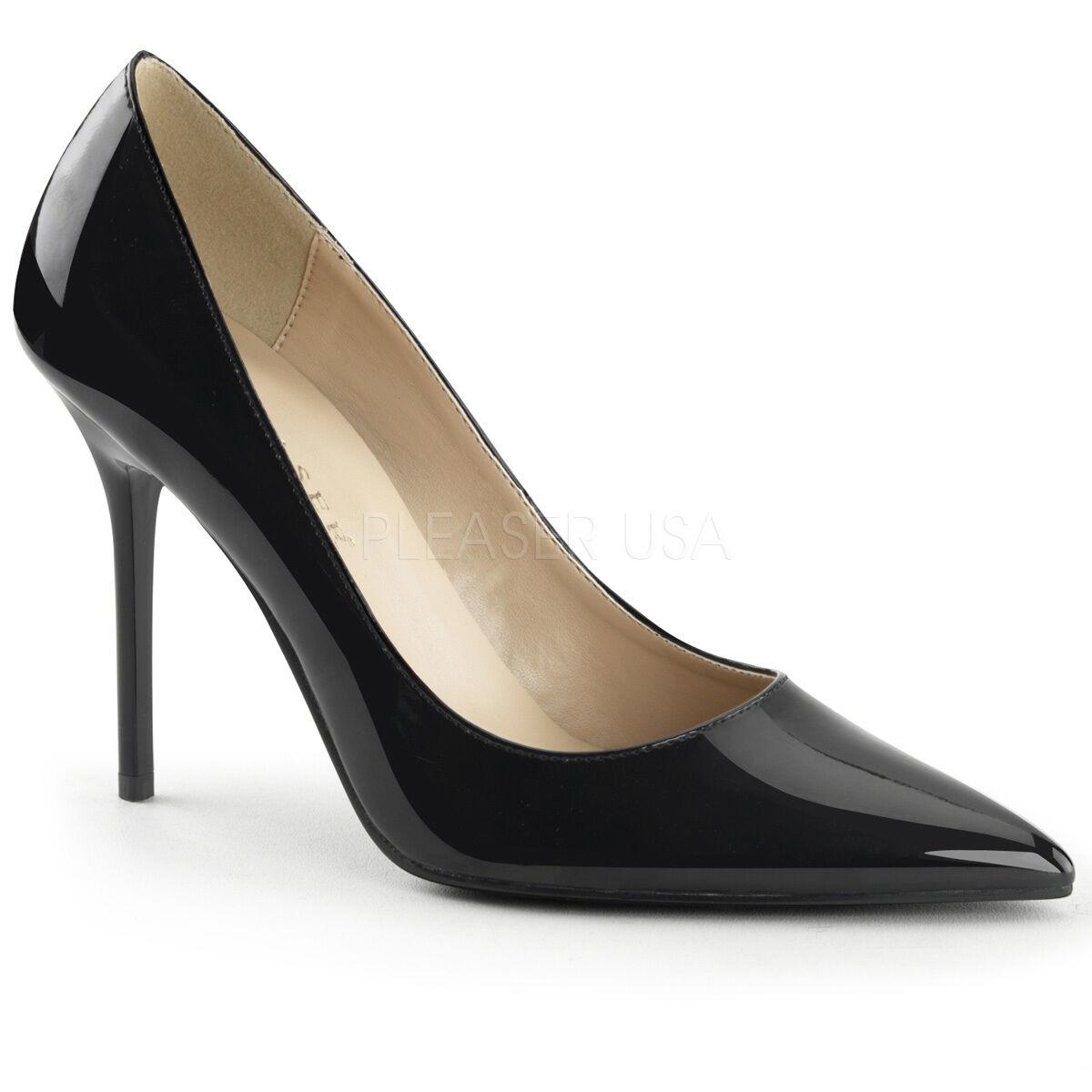 Bout Noir Pointu Classique classique Femmes Verni Pleaser 20 nFfg1EqxX
