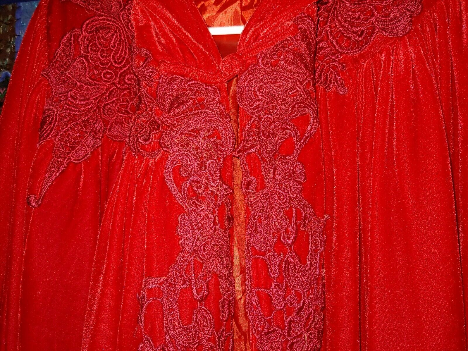 Red velvet Victorian cape with hood - image 4