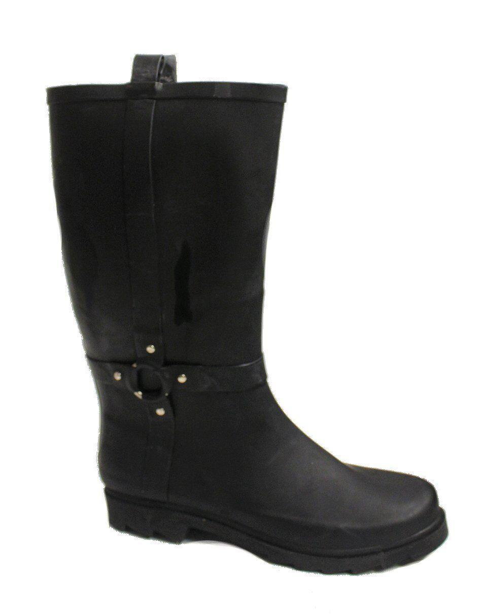 Capelli New York Women's Black Harness Rain Boot US 9 NOB NWD
