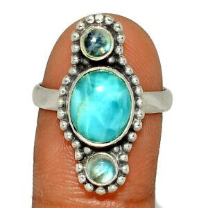 Genuine Larimar - Dominican Republic 925 Silver Ring Jewelry s.9 BR14293  XGB