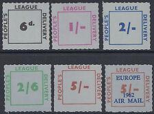 Great Britain People's League roulette label set of 6 MNH