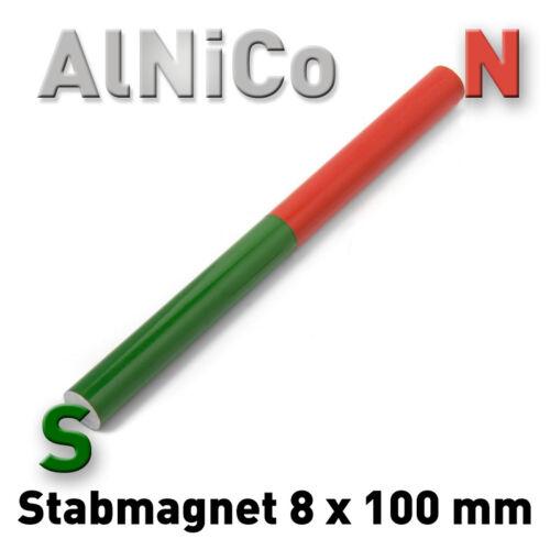 Stabmagnet AlNiCo Rundstab 8 x 100 mm Rund Stab Alnico5 Permanent Magnet 10 cm