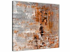 Details About Burnt Orange Grey Painting Abstract Dining Room Canvas Wall Art 1s415l 79cm