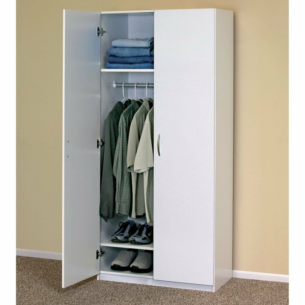 Small Bedroom Cabinet: WHITE WARDROBE CABINET Clothing Closet Storage Modern