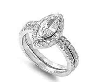 Marquise-925-Sterling-Silver-Simulated-Diamond-Size-8-Engagement-Ring-Set-S41
