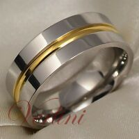 Titanium Ring 14k Gold Wedding Band Men's & Women's Bridal Jewelry Size 6-13