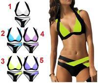 Women Sexy Halter Neck Strappy Straps Padded Beachwear Swimsuit Swimwear Bikini