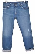 Levis 501 CT BOYFRIEND Blue Distressed Slim Tapered CROP Jeans Size 12 W29 L32