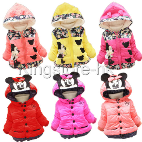 Toddler Girls Kid Minnie Mouse Hoodie Jacket Coat Winter Warm Pad Outerwear 1-4Y