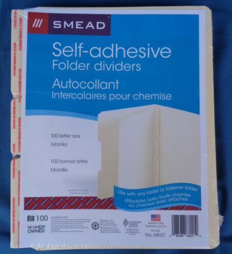 Smead 68021 Self-adhesive Manila Folder Dividers Sealed//New Qty 100 Fast Ship