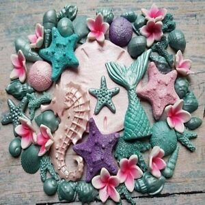 EDIBLE-FONDANT-SUGAR-MERMAID-TAIL-SHELLS-STARFISHES-CAKE-TOPPERS-DECORATIONS