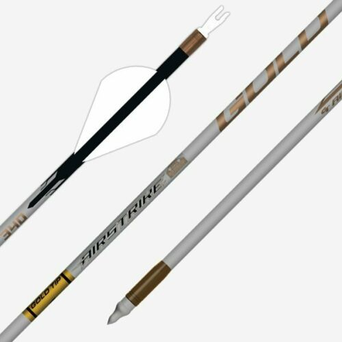 12 Gold Tip Airstrike 340 fletched .001 fletched flèches 7.8gpi Douzaine Flèches