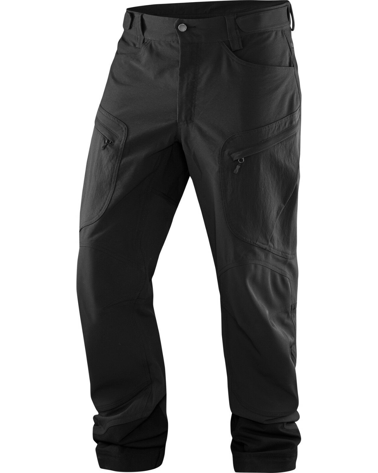 Haglofs robusto Mountain Pantaloni Vero Nero solido gamba regolare con Cintura Gratis