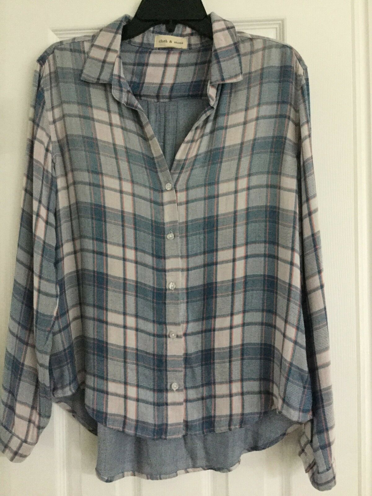 NEW CLOTH & STONE SzXS DOUBLE PLAID BUTTON DOWN LONG SLEEVE SHIRT LIGHT Blau MUL