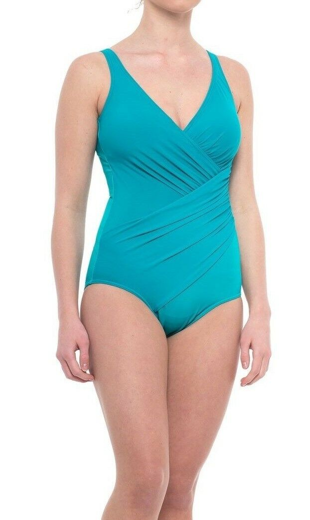 NWT New MIRACLESUIT Oceanus Tank One Piece Swimsuit bluee Lagoon Size 16