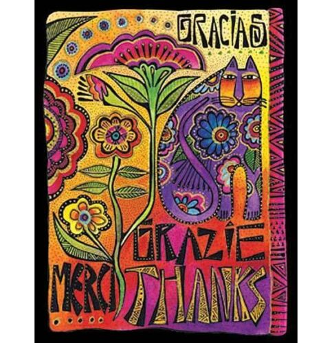 """Laurel Burch /""""Thank You/"""" Cat Note Cards 8 in a Package With Envelope"""