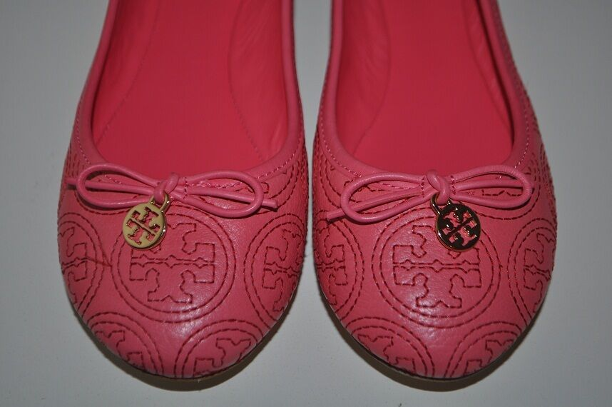 NIB Tory Burch Sz 7.5  PINK CHELSEA Stitched Gold Logo PINK  Leather Ballet Flat Shoes 7c19f9
