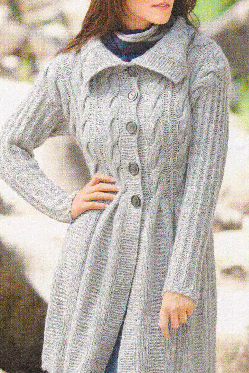 A Line Cable Coat in Chunky Yarn Size 12/14 Knitting Pattern Womans ...
