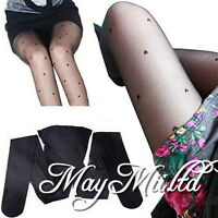 Womens Stylish Black Pretty Peach Heart Pattern Jacquard Pantyhose Tights G