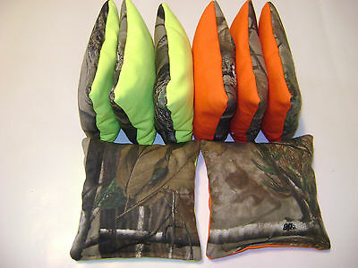 Realtree Camo Orange Neon Cornhole Bean Bags 8 All Weather Washable Waterproof Beneficial To Essential Medulla Cornhole Bag Toss Backyard Games