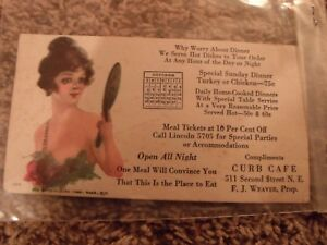 Vintage Ink Blotter Curb Cafe Home Cooked Meals Open All Night Pretty Lady Advertising
