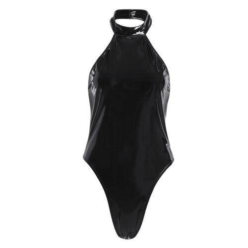 One-piece Women Shiny Bodysuit Leotard Catsuit Halter Backless Jumpsuit Clubwear