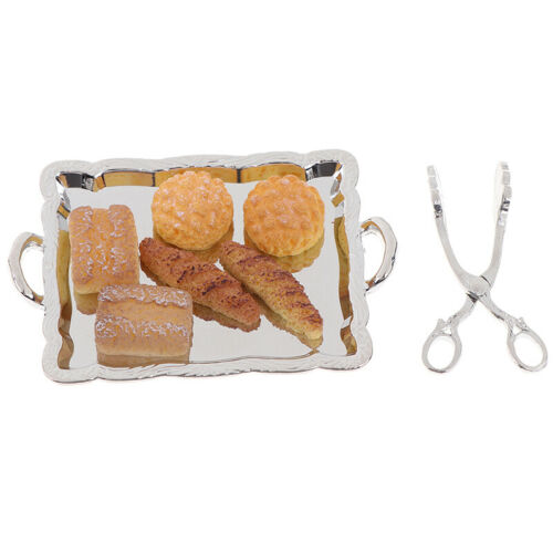 Silver Clip 6 BreaJB 8Pcs 1:12 Dollhouse Miniature Accessories Silver Tray