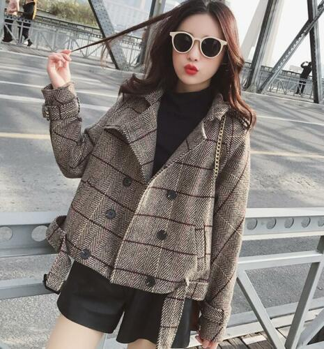 Coat Double Plaid Short Jacket Outerwear Dame Breasted Overcoat Warm Trench 1Bxq5wY