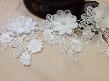 White Rose Floral Embroidered Lace Trim Antique Lace 4.33 Inches Wide 2 Yards