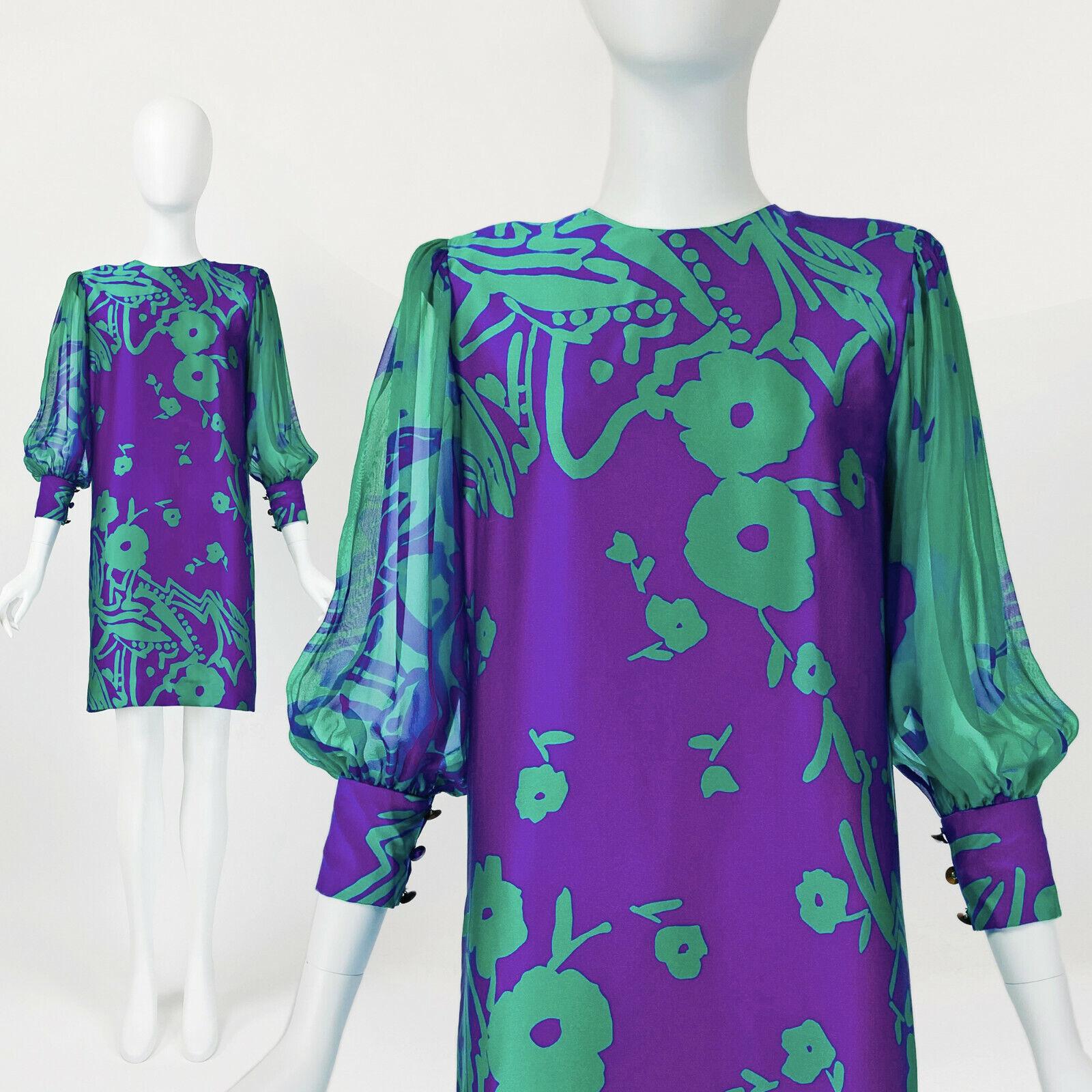 Designer Vintage 80s Silk Dress PAULINE TRIGERE S… - image 1