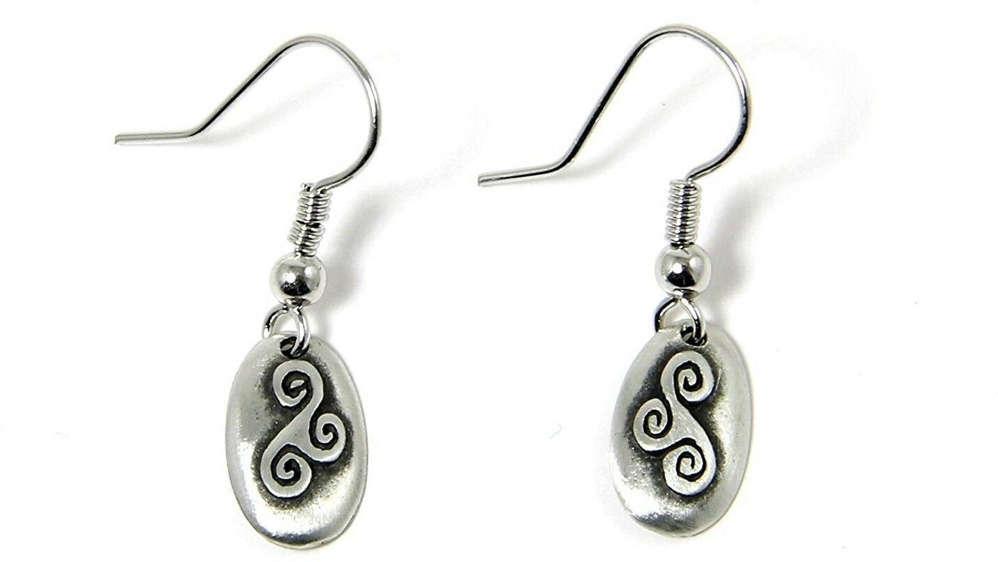 Pewter Celtic Realm Earrings The Triskele From Ireland