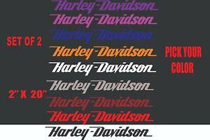 "Harley Davidson sticker vinyl decal 20"" x 2"" set of 2 (pick your color)"