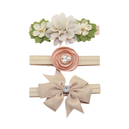 3Pcs Kids Elastic Floral Headband Pearl Hairwear Girls baby Bowknot Hairband Set