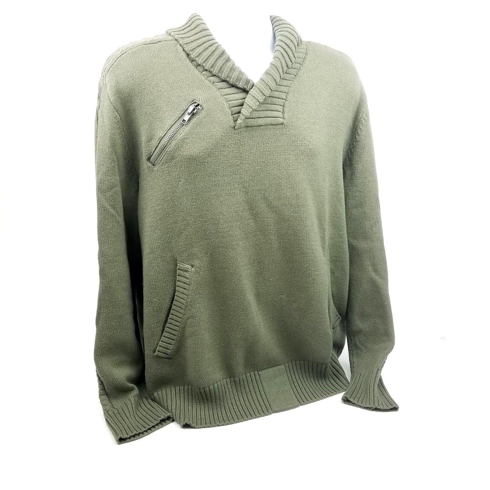 Darring USA Premium Dry Goods Sweater Green Cotton Blend Button collar LS Lg