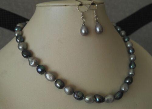 8-9mm  grau /& schwarz mixed Perlenkette Ohrring Set Barock Perlenkette