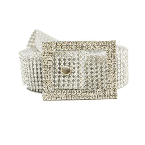 Ladies Silver Rhinestone Hip And Waist Belt Chain Charm Diamante Diamonds Buckle