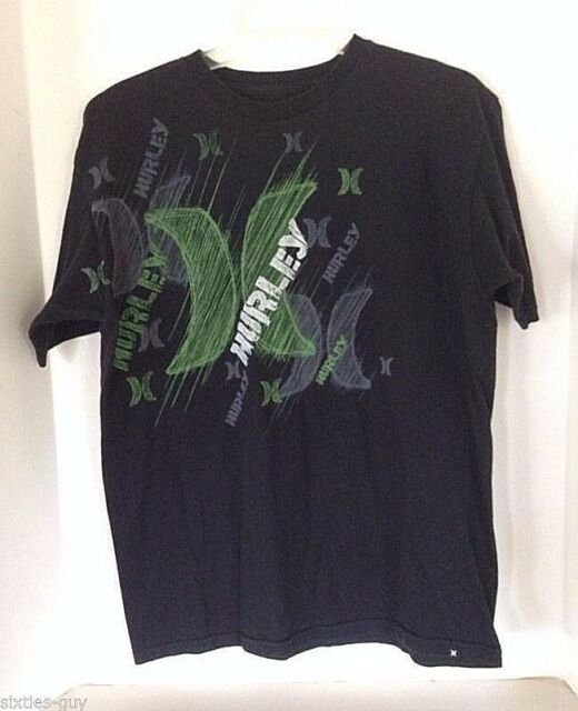 Hurley Black T-shirt Medium M Regular Fit Green Logo