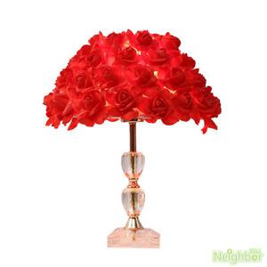 Image Is Loading Modern Red Rose Led Table Lamp Crystal Desk