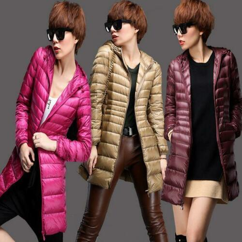Women Down Coat Ultralight Packable Hoodie Jacket long slim fit Outwear Parka