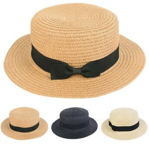 Women-Ladies-Summer-Wide-Brim-Straw-Hat-Beach-Sun-Bowknot-Foldable-Cap-G9A