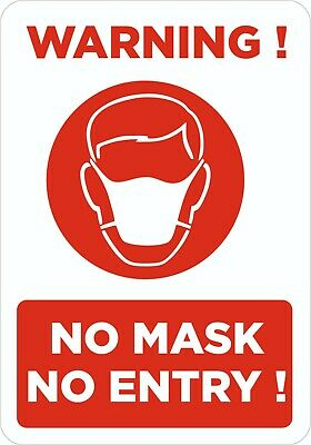 NO ENTRY WITHOUT A FACE COVERING Shop Window Sticker Takeaway Supermarket Mask